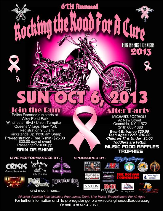 6th Annual Rocking The Road For A Cure, Sunday Oct. 6, 2013