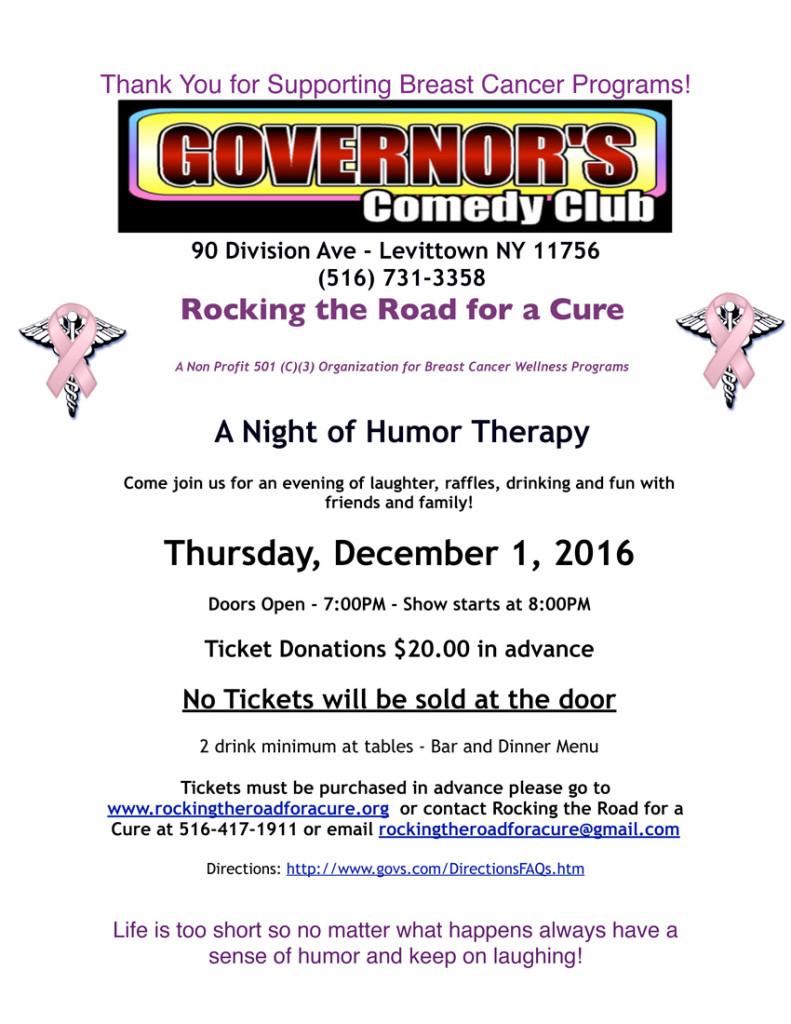 Fundraiser for Breast Cancer - Governor's Comedy Club, Long Island, NY
