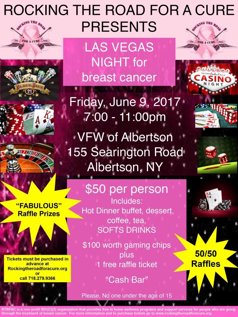 Las Vegas Night for Breast Cancer - Raffles - Gaming Chips - Hot Dinner Buffet - VFW Albertson, NY