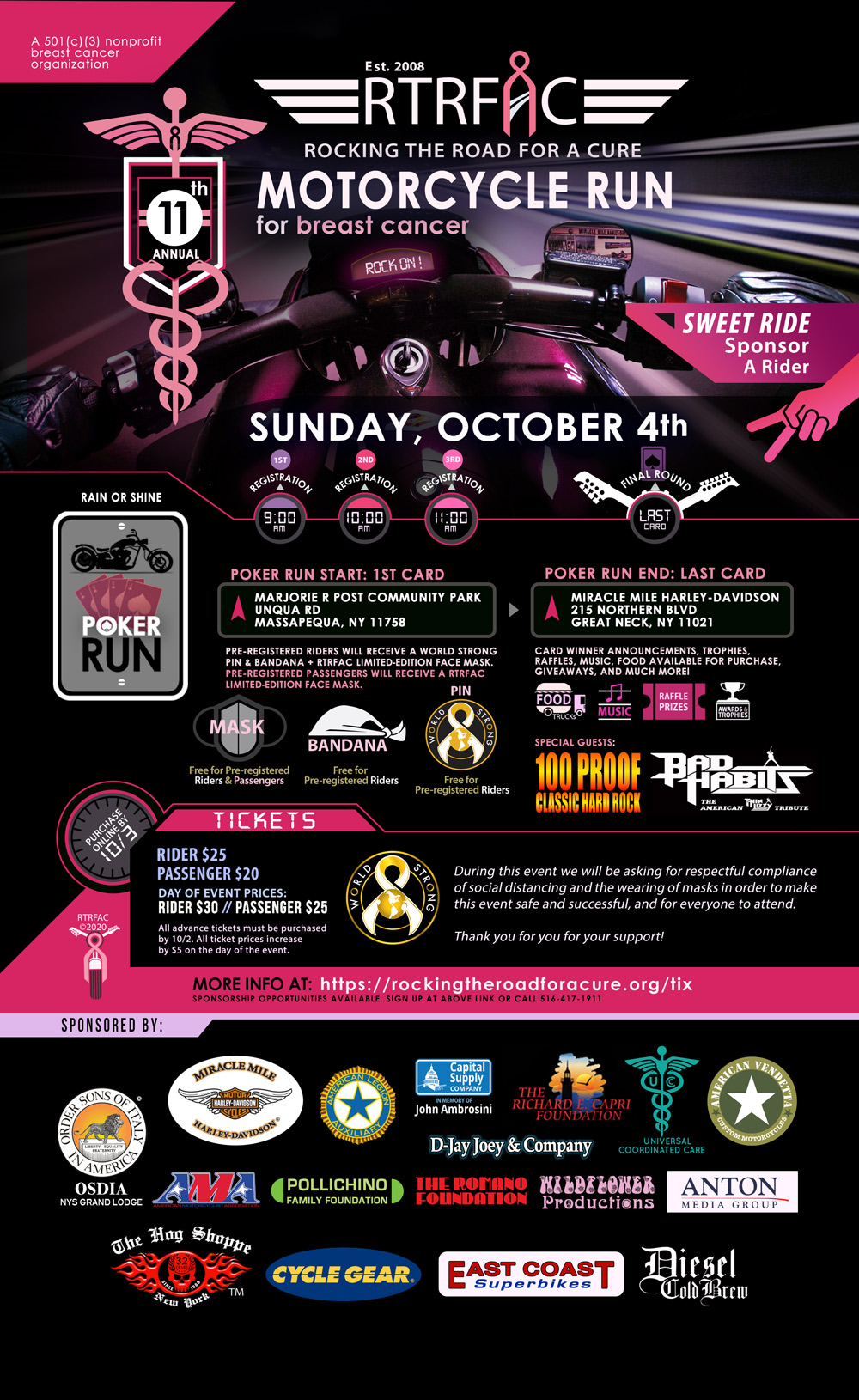 11th Annual Motorcycle Run for breast cancer - Long Island - Great Neck - Poker Run - Miracle Mile Harley-Davidson