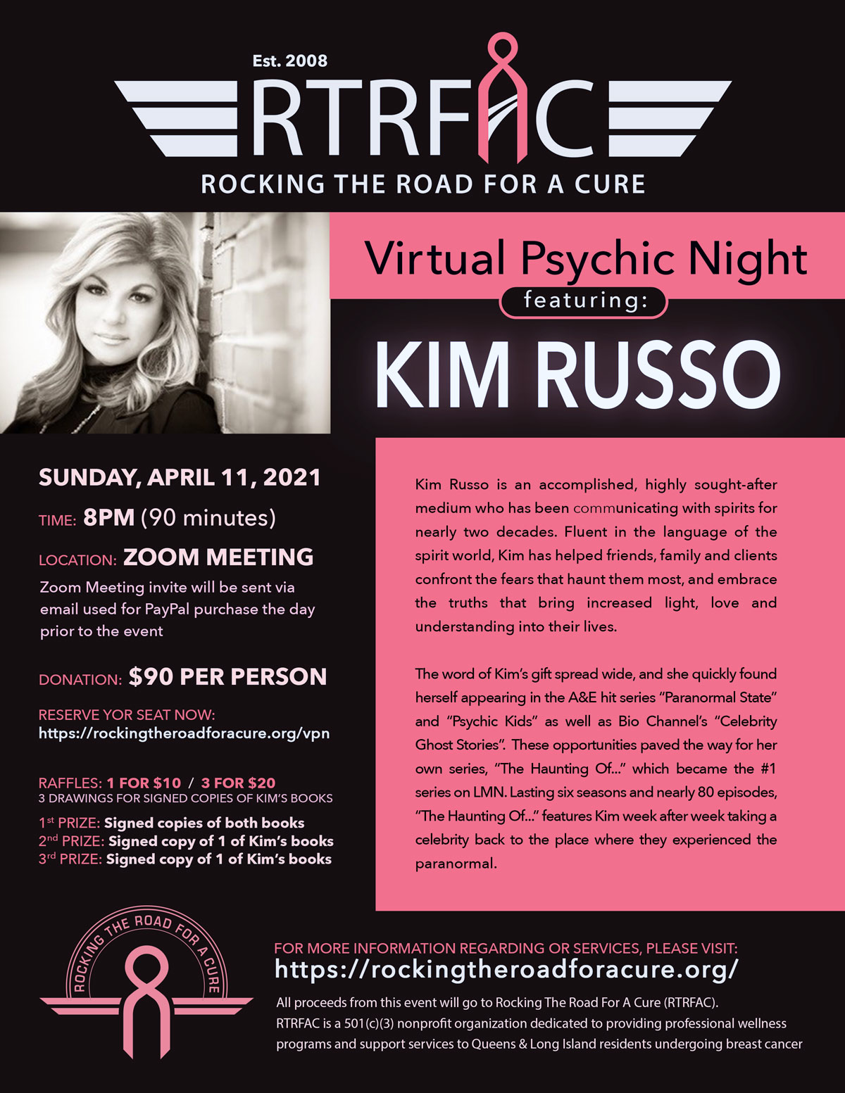 Flyer(jpeg format) for Virtual Psychic Night with Kim Russo