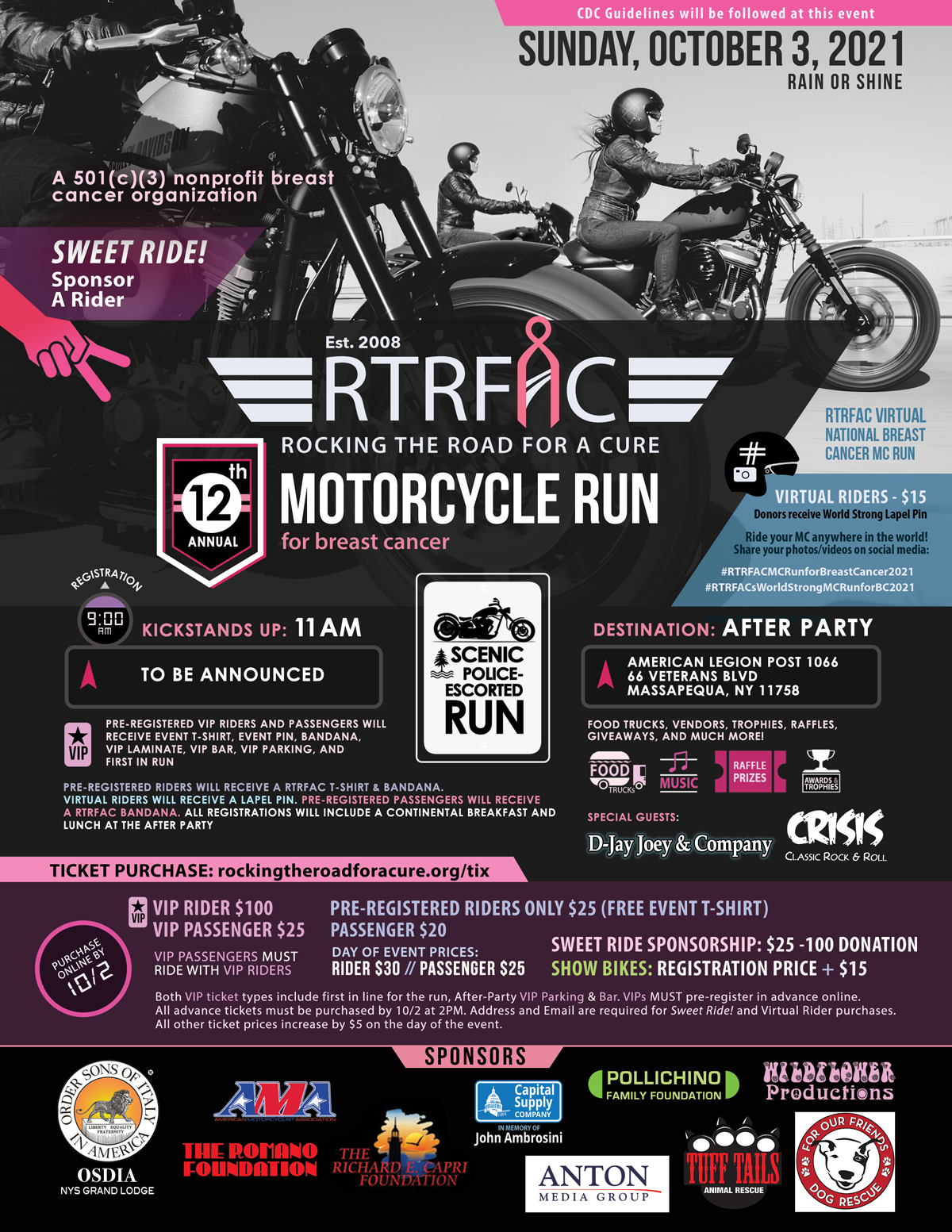 Flyer for Rocking The Road For a Cure's 12th Annual Motorcycle Run for breast cancer