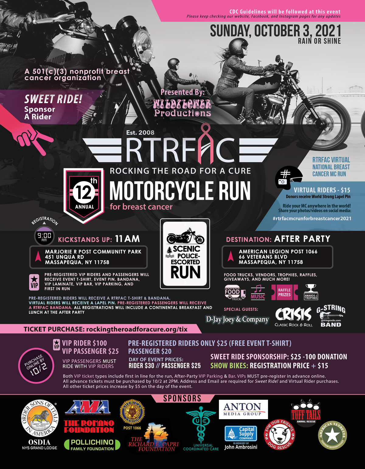 12th Annual Motorcycle Run for breast cancer - Long Island - Marjorie J Community Park - MC Run - American Legion Post 1066 - Massapequa NY